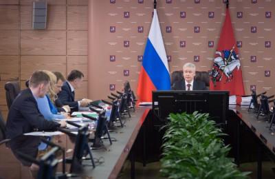 Мэр Москвы Сергей Собянин в ходе заседания президиума правительства столицы