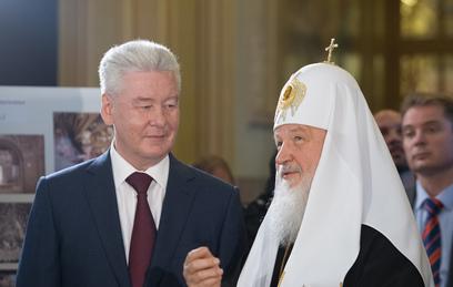 Собянин и Патриарх осмотрели ход работ по реконструкции Епархиального дома