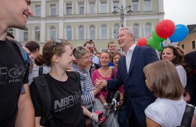 Мэр Москвы Сергей Собянин открыл после реконструкции пешеходную зону на улице Большая Ордынка