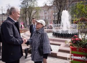 Мэр Москвы Сергей Собянин принял участие в торжественном запуске фонтана в Новопушкинском сквере
