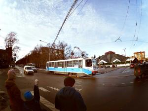 Трамвайные пути возле метро Тульская