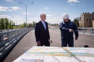 Мэр Москвы Сергей Собянин осматривает ход строительства участка Северо-Восточной хорды