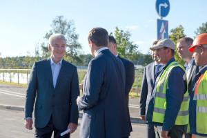 Мэр Москвы Сергей Собянин на открытии новой дороги